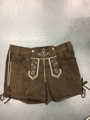 Pantalón de cuero tradicional marrón claro-marrón
