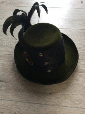 Folkloristische hoed zwart-donkergroen