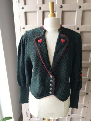 Arber Veste en laine rouge-vert forêt