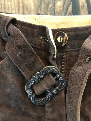 Almsach Tradycyjne skórzane spodnie ciemnobrązowy