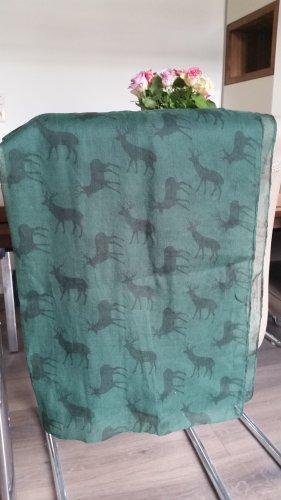 Tchibo / TCM Écharpe d'été vert forêt-noir polyester