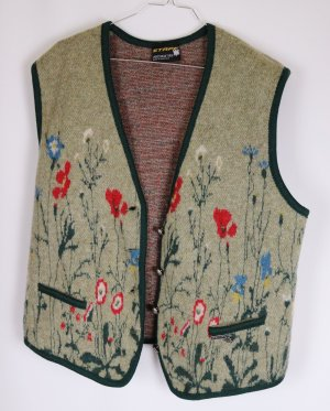 Trachten Weste Wolle Stapf Sportswear Tirol Größe 48 Beige Grau Grün Blumen Wiese Rot Mohn Jaquard Schurwolle Jacke Cardigan