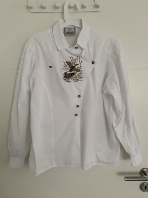 Blusa folclórica blanco-marrón oscuro