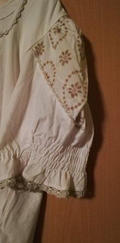 Country Line Blusa folclórica blanco puro-beige Algodón