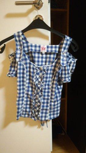 Spieht & Wensky Folkloristische blouse donkerblauw-wit