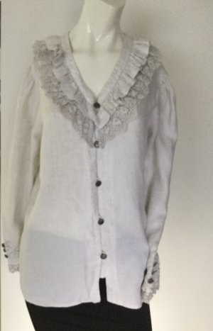 Folkloristische blouse lichtgrijs Linnen