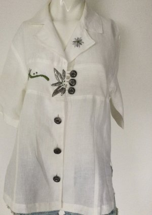 Amann Tradycyjna bluzka w kolorze białej wełny Len