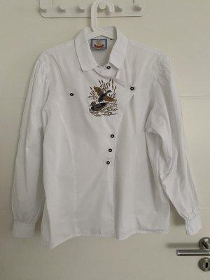 Tradycyjna bluzka biały-ciemnobrązowy