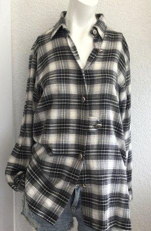 OS Trachten Blusa tradizionale nero-bianco Cotone