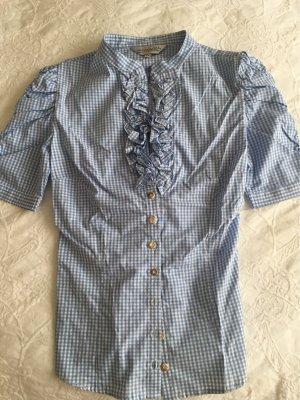 Almsach Geruite blouse wit-korenblauw