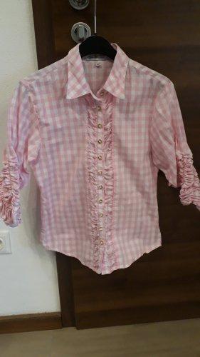 Almsach Blusa a cuadros rosa claro