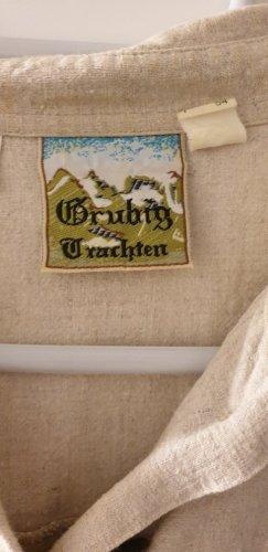 Grubig Trachten Blusa tradizionale beige-marrone-grigio Cotone
