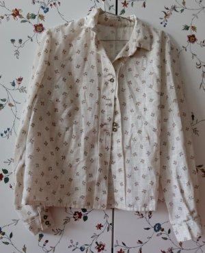 Vintage Blusa folclórica crema-marrón claro