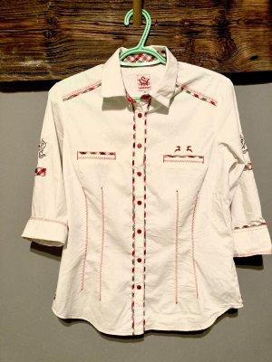 Spieth & Wensky Blusa tradizionale bianco-rosso scuro
