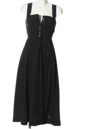 Trachtenecht Austria Vestido Dirndl negro-color plata estilo clásico