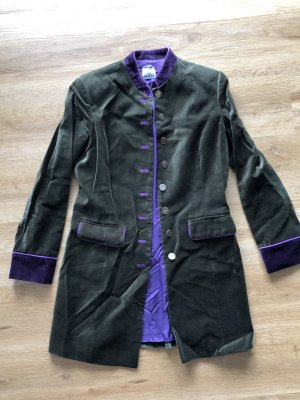 Brigitte von Boch Chaqueta folclórica verde bosque-violeta oscuro Terciopelo
