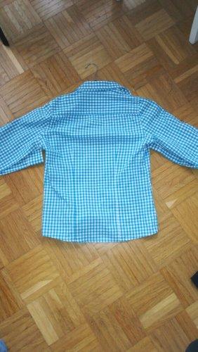 Folkloristische hemd lichtblauw-wit