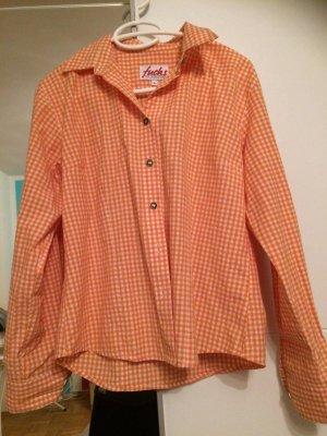 Fuchs Trachtenmoden Folkloristische hemd wit-oranje