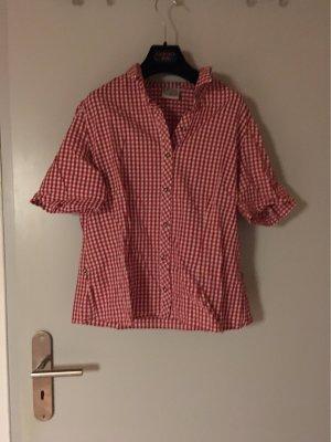 Country Lady Camisa folclórica blanco-rojo