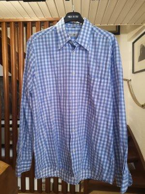 Folkloristische hemd wit-lichtblauw