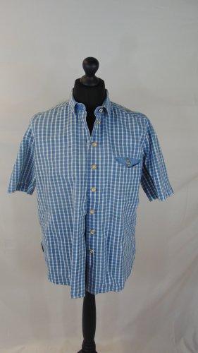 Alphorn Tradycyjna koszula stalowy niebieski-biały