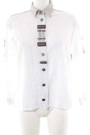 Folkloristische hemd wit-beige Lederen elementen