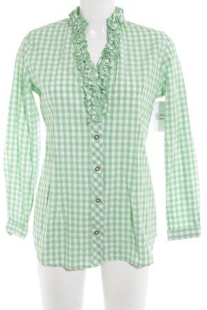 Folkloristische hemd wit-weidegroen geruite print klassieke stijl