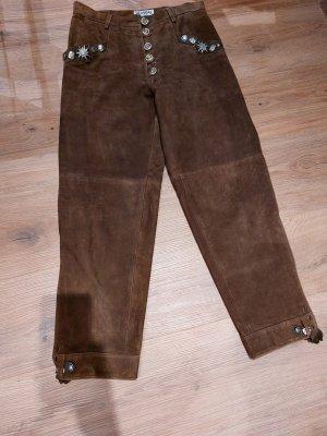 Skandal Tradycyjne skórzane spodnie brązowy-cognac Skóra