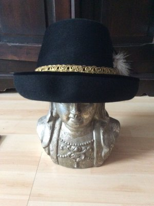 Trachtenhut schwarz mit Feder und Bändern 54 cm