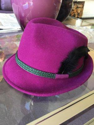 Folkloristische hoed violet-zwart Wol