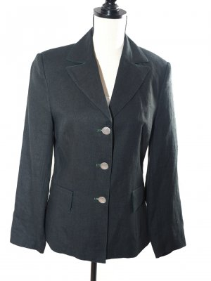Landhaus Traditional Jacket anthracite-forest green linen