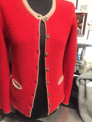 Trachtenjacke rot, beige abgepaspelt an Kragen, Ärmeln und Taschen