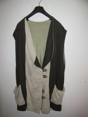 Vintage Folkloristische vest bruin-wolwit Linnen