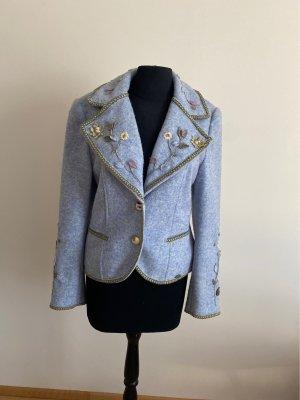 Giesswein Chaqueta folclórica azul celeste lana de alpaca