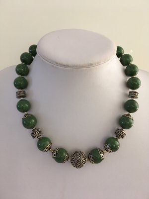 no name Necklace forest green-silver-colored