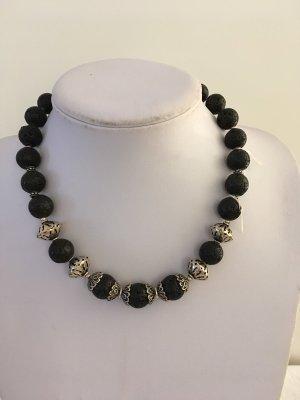 no name Necklace black-silver-colored