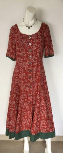 Geiger Vestido Dirndl rojo ladrillo-verde bosque Lino