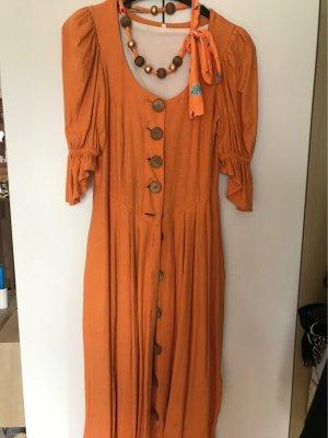 Robe péplum orange coton