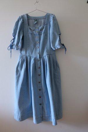 Vintage Dirndl bleu azur coton