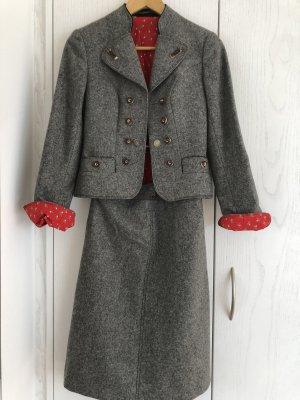 Salzburger Dirndl Giacca tradizionale grigio scuro-rosso mattone