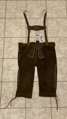 Spieth & Wensky Pantalone in pelle tradizionale marrone-crema Pelle