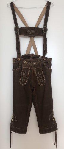 Tradycyjne skórzane spodnie jasnobrązowy-brązowy Skóra