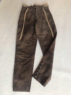 Pantalone in pelle tradizionale marrone