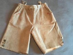 Distler Pantalon traditionnel en cuir marron clair-beige