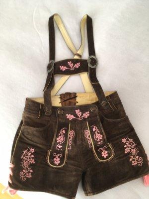 Almsach Pantalón de cuero tradicional marrón-rosa