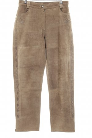 Pantalon traditionnel en cuir marron clair Garniture de dentelle