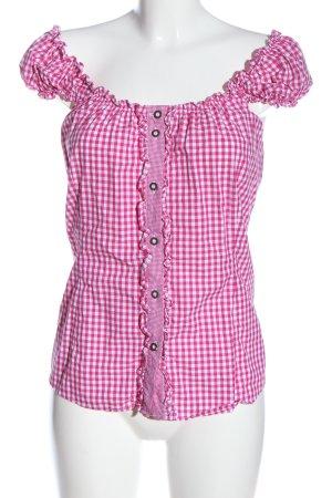 Trachtenmanufaktur München Hemd-Bluse pink-weiß Allover-Druck Casual-Look