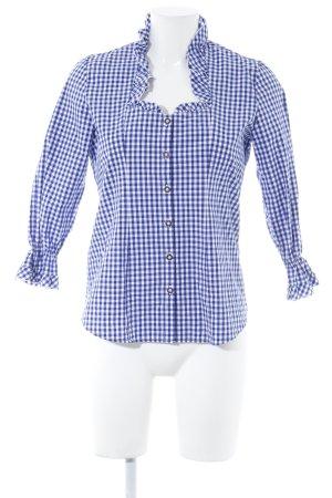 Trachtenmanufaktur München Trachtenhemd weiß-blau Karomuster Casual-Look