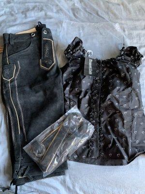 Pantalón de cuero tradicional negro-blanco