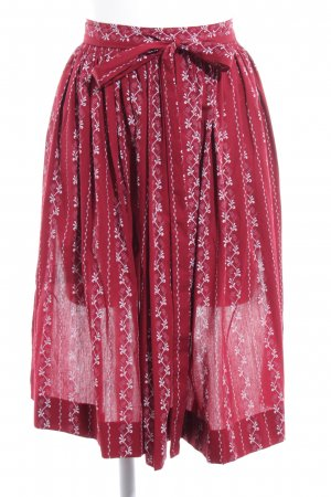 Traditional Apron dark red-white mixed pattern casual look